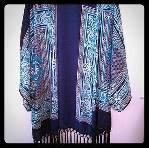 Francesca's Bird Cage fringe Kimono